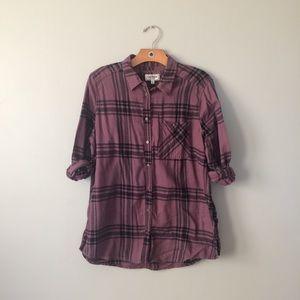 Express Plaid Shirt Purple Black Size Large